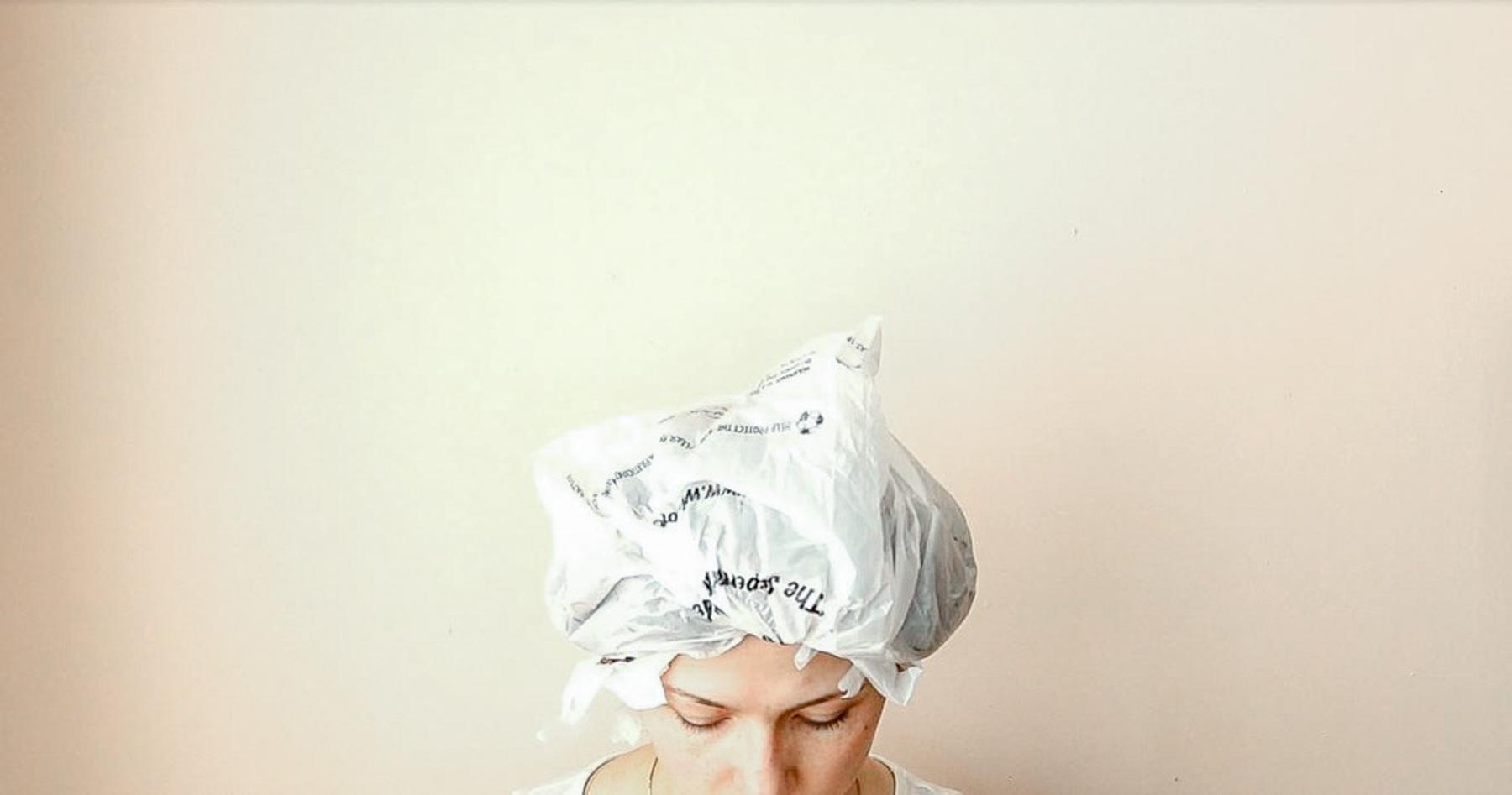 Olaplex mask with bag on head
