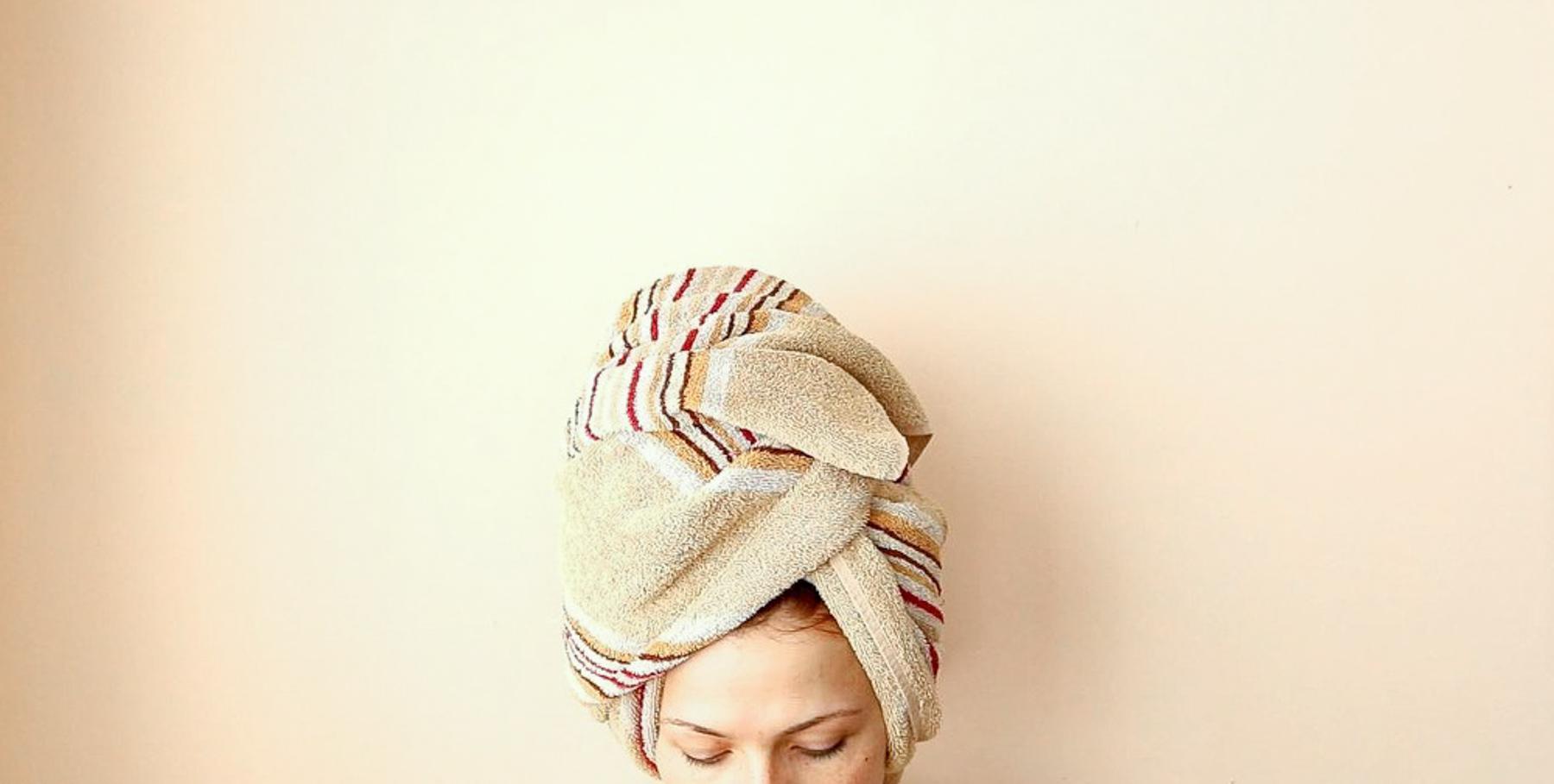 towel on head with olaplex mask