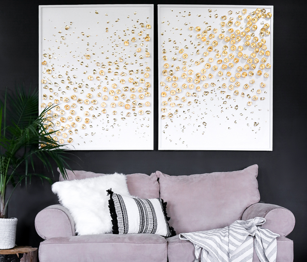 Home Design 3d Gold Ideas: 3d Art DIY-->Giant Canas Abstract Tutorial---> Gold Leaf Decor