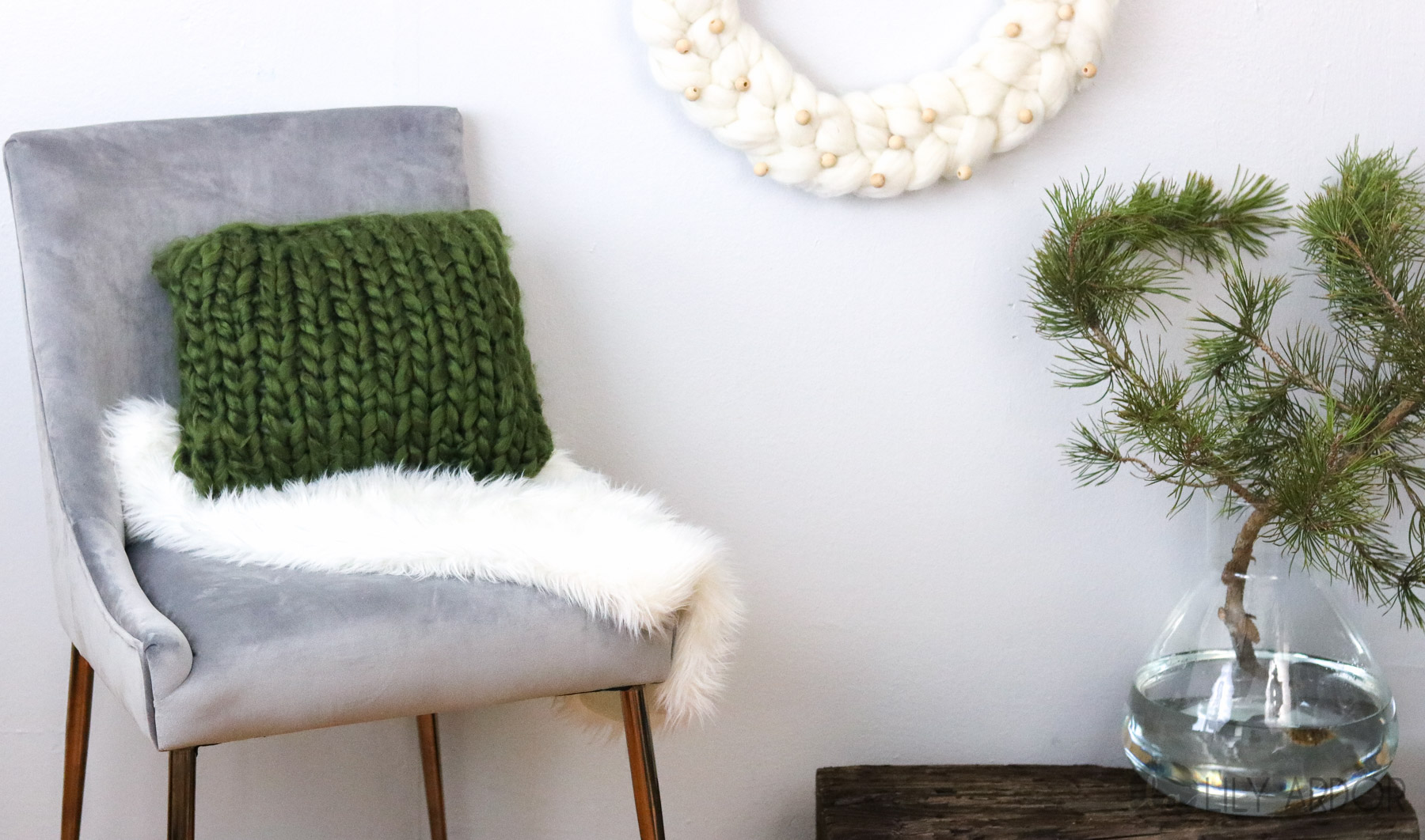 Chunky knit pillow
