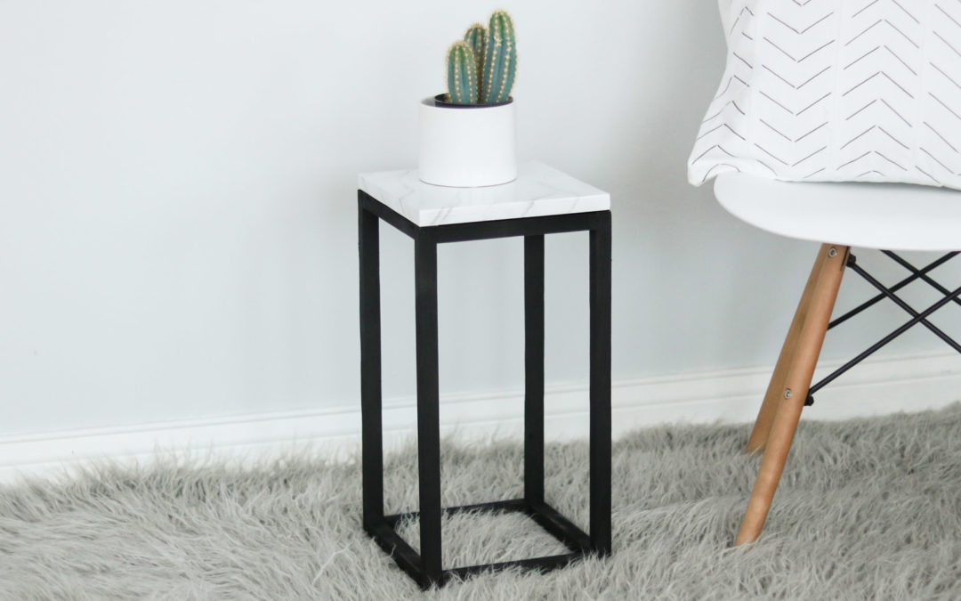 DIY Plant Stand + EASY Faux Marble effect!