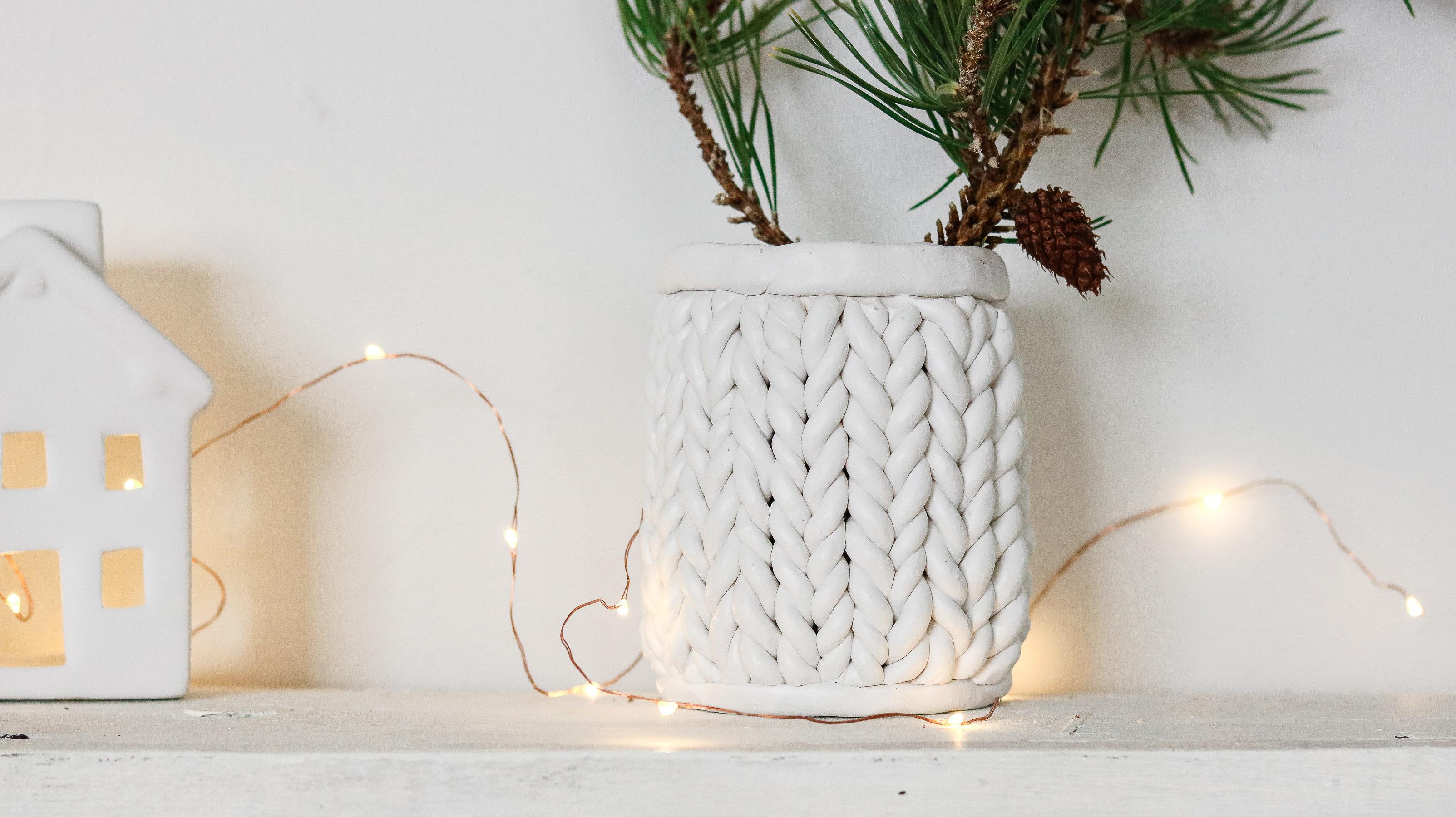 Diy Chunky Knit Using Clay Chunky Knit Planter Lily Ardor border=