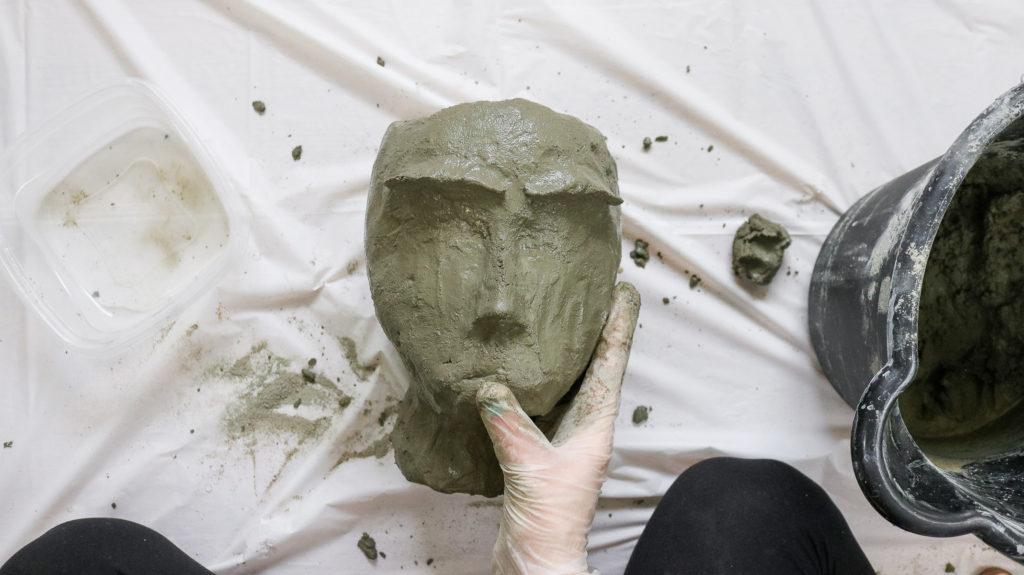diy head planter sculpting with concrete