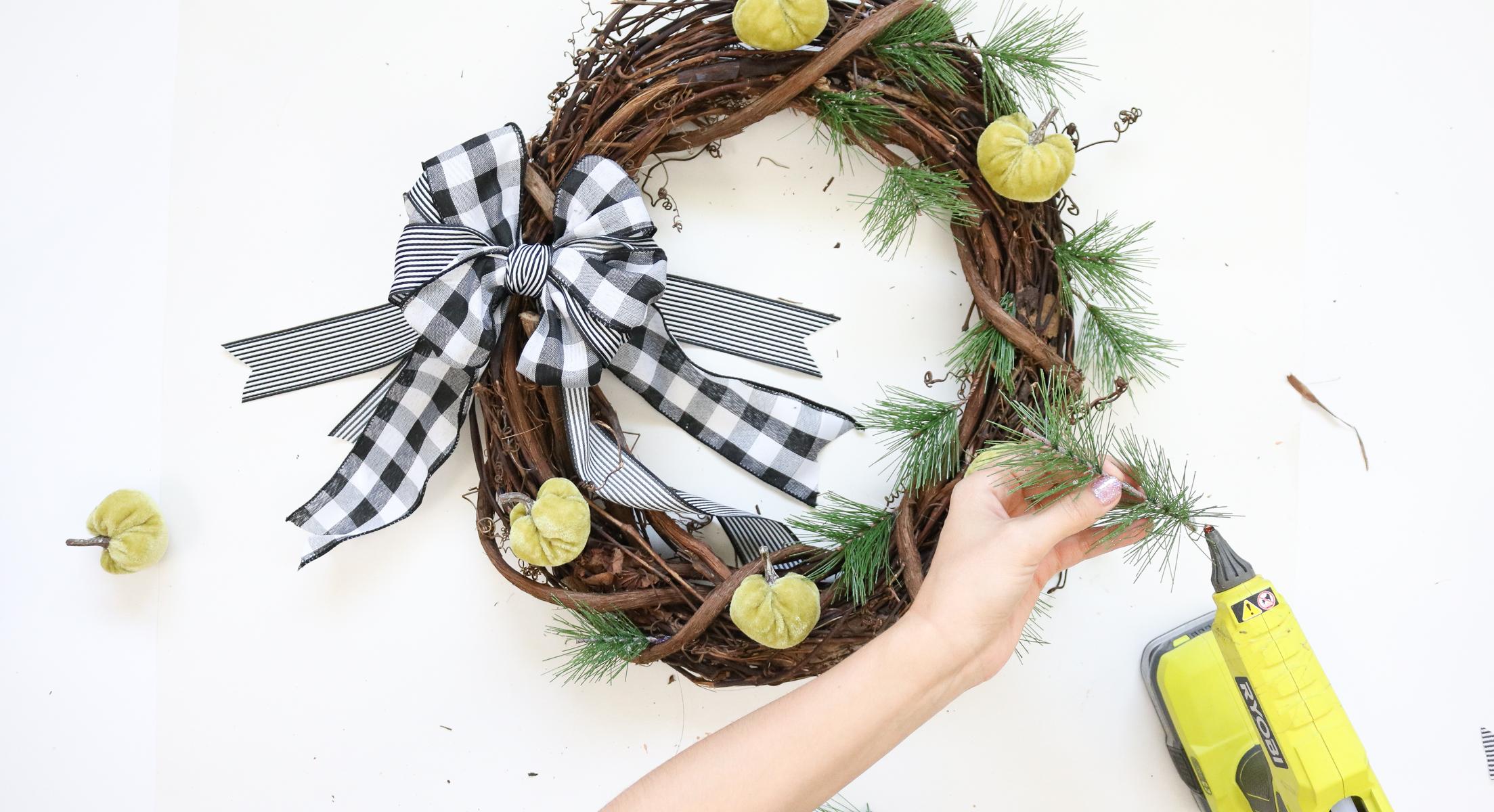plaid wreath DIY