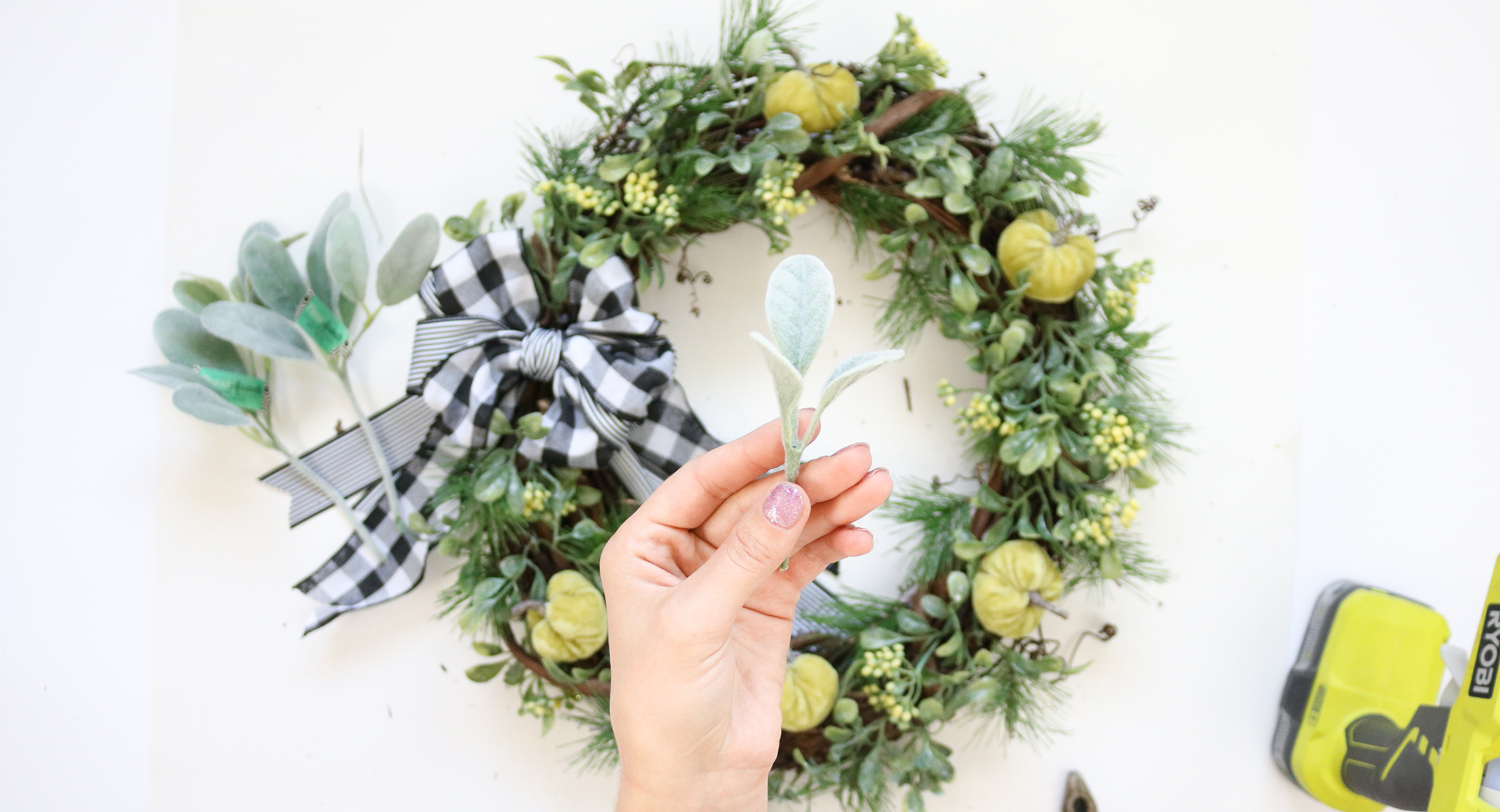 plaid wreath DIY
