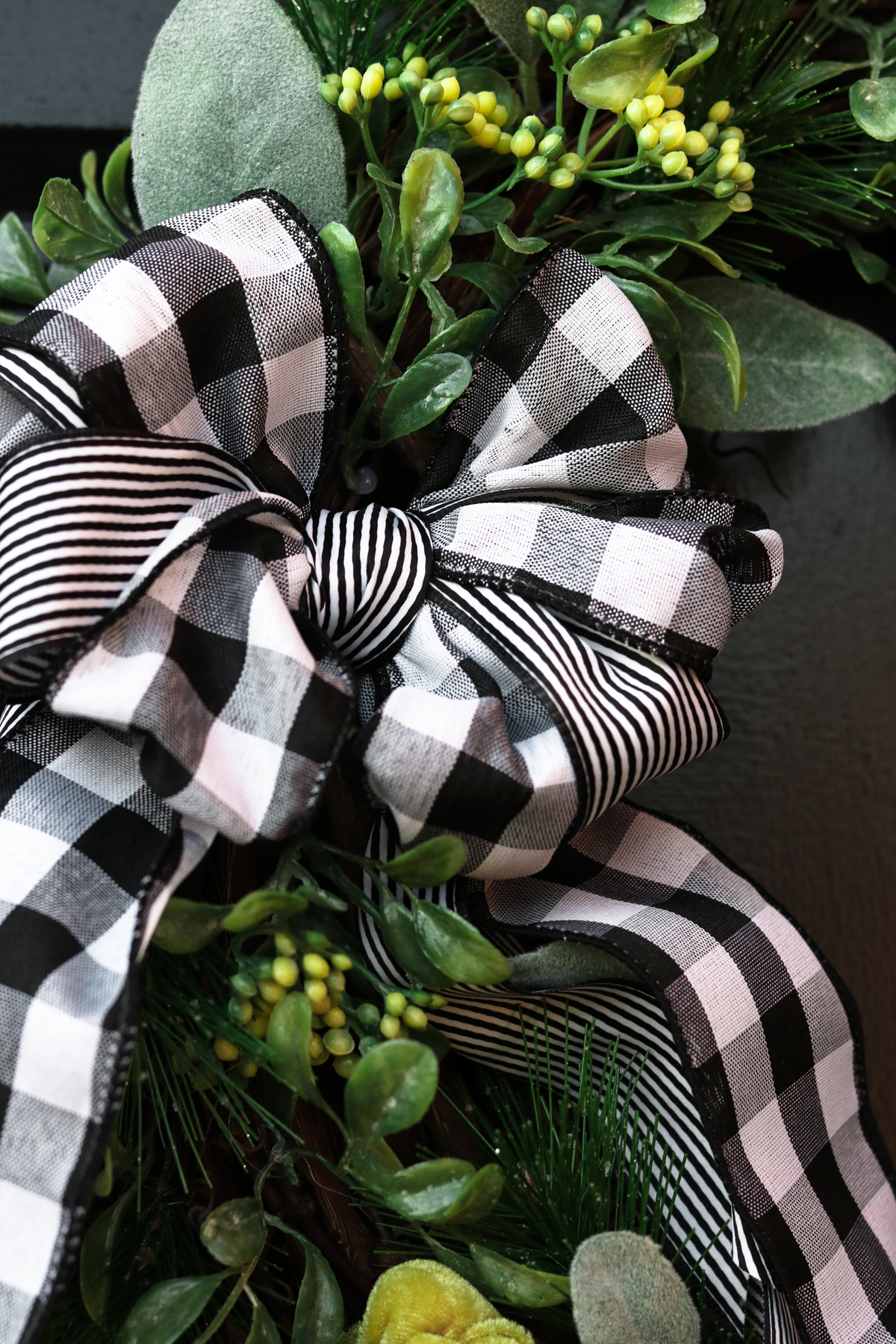 AN easy bow HACK for a plaid wreath