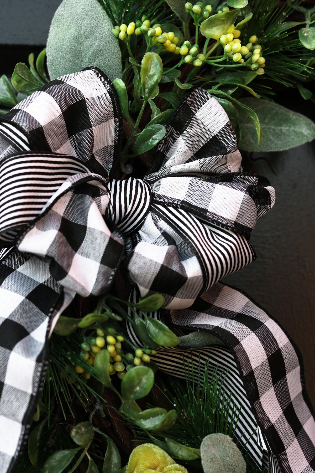 AN easy bow HACK for a plaid wreath