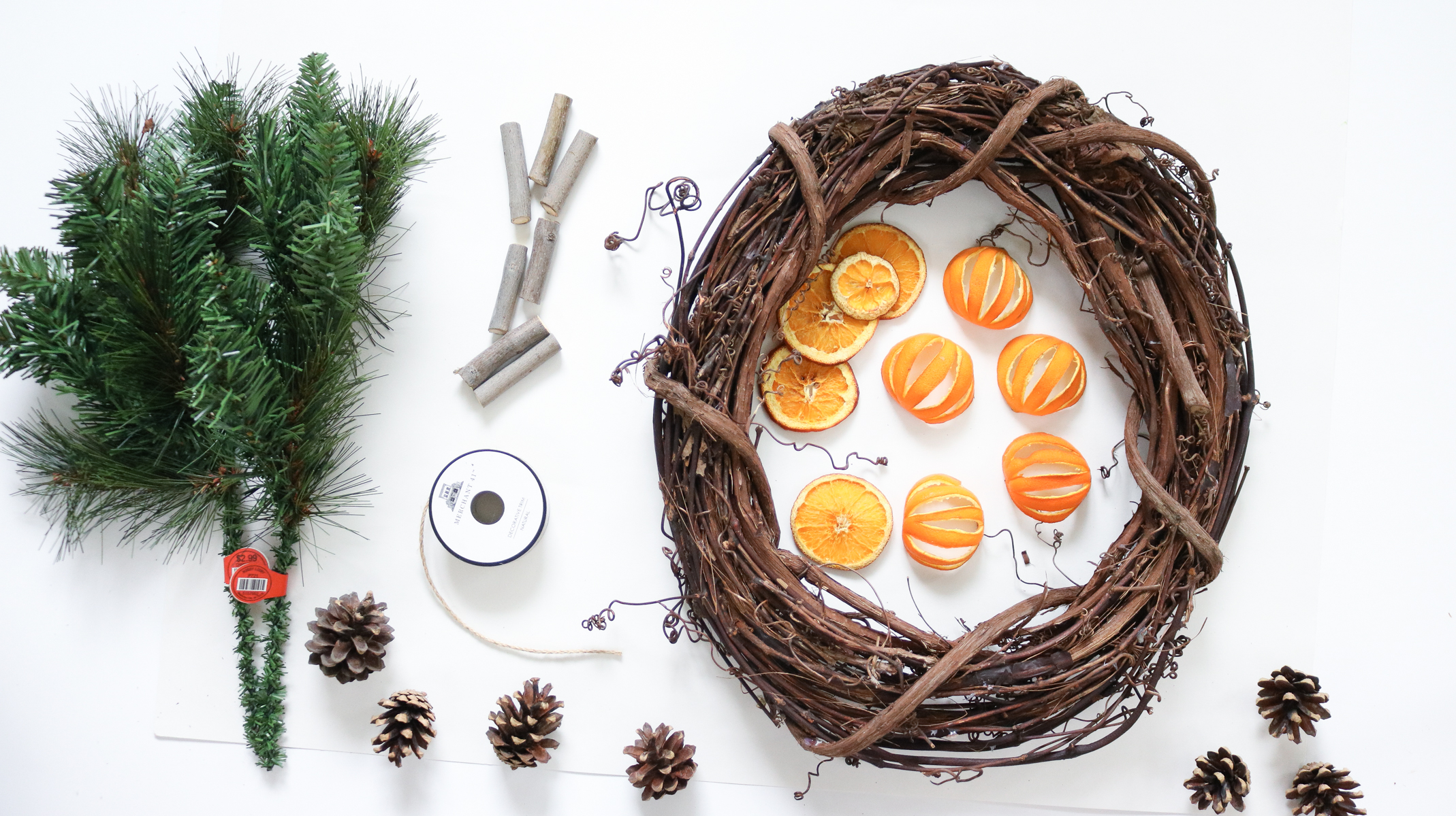 supplies needed for citrus wreath