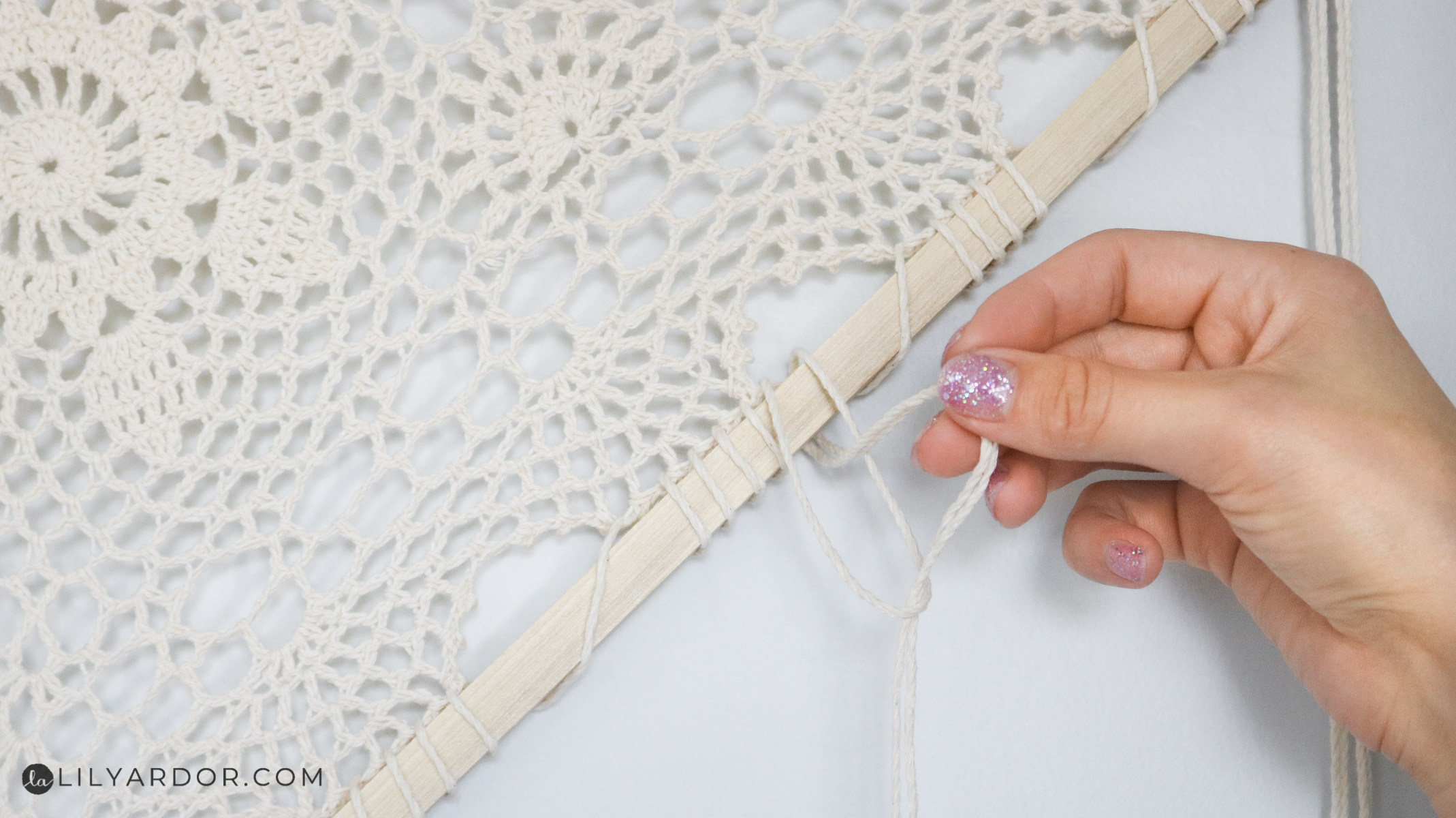 adding rope to the wall hanging!