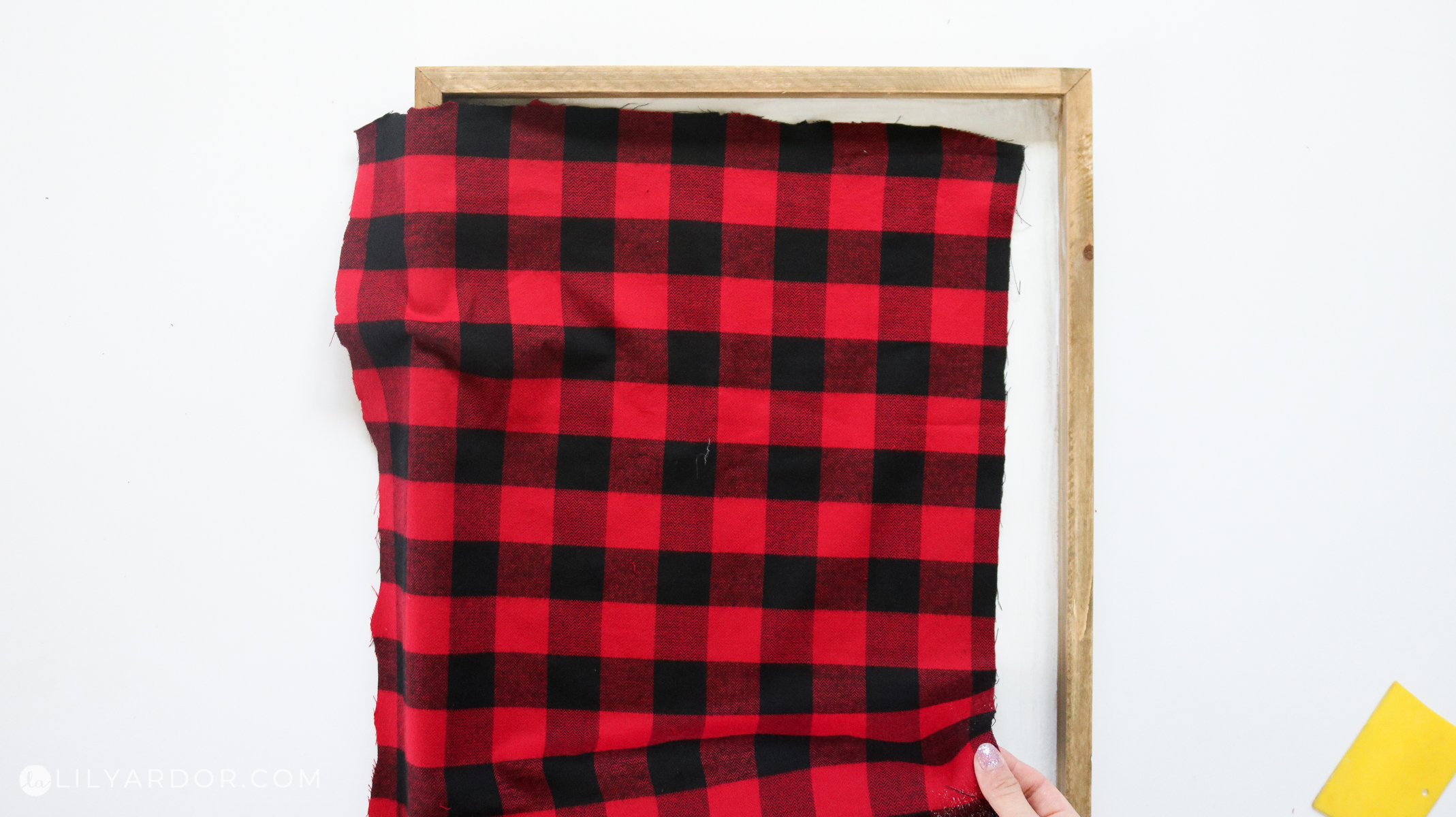 plaid sign from fabric