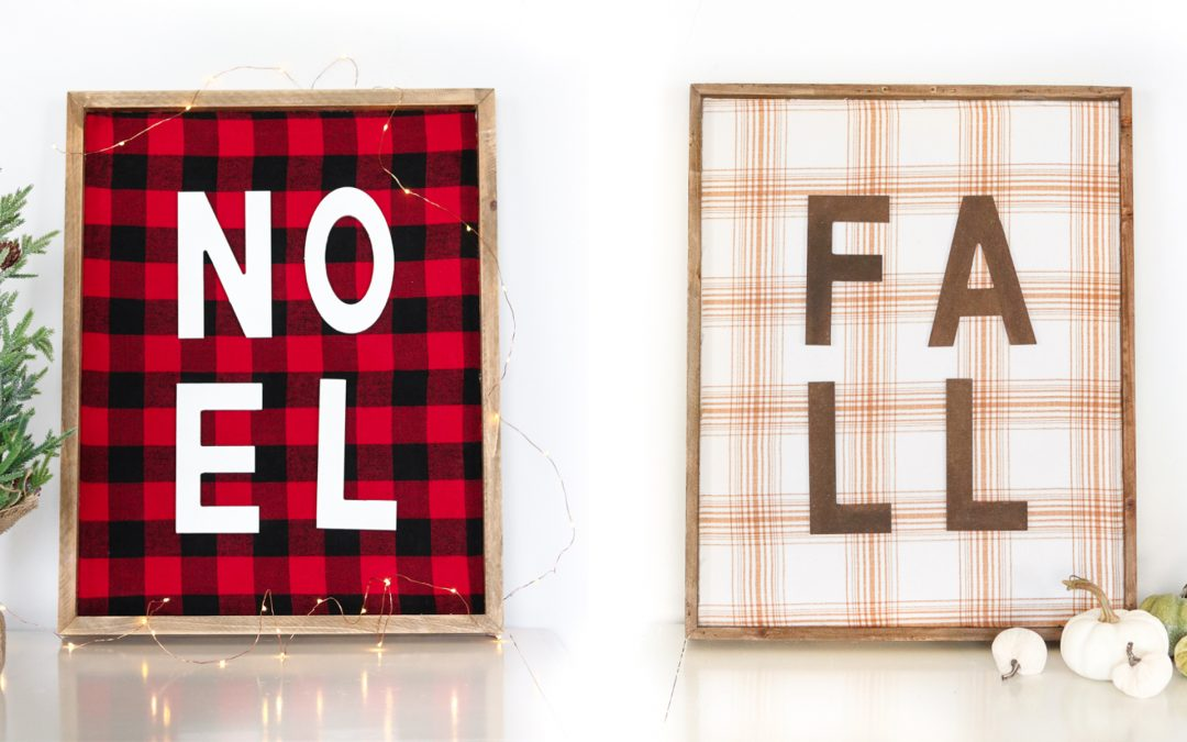 Double Sided Fall and Christmas Plaid Sign