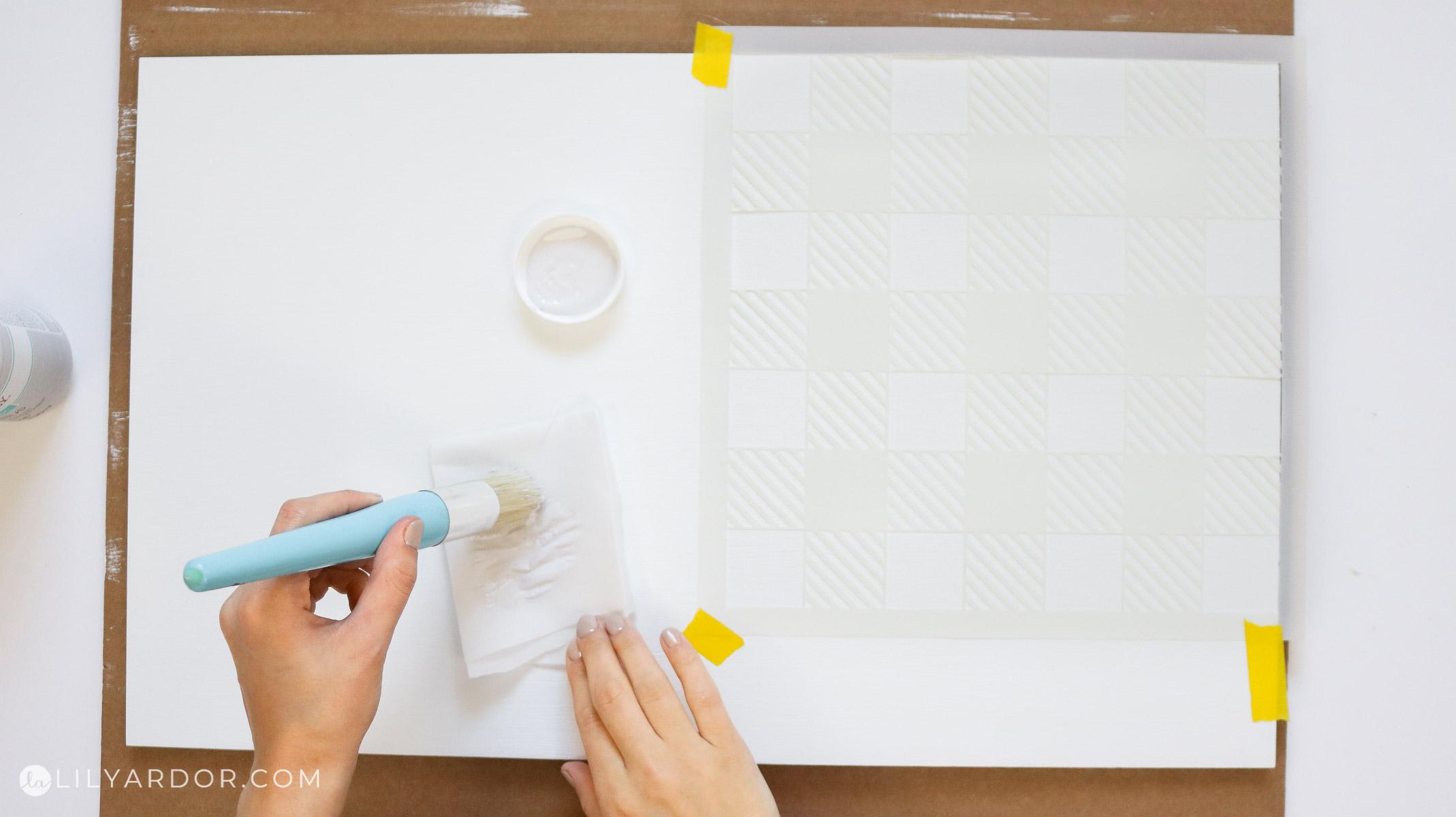 using a plaid stencil to make plaid in 10 minutes