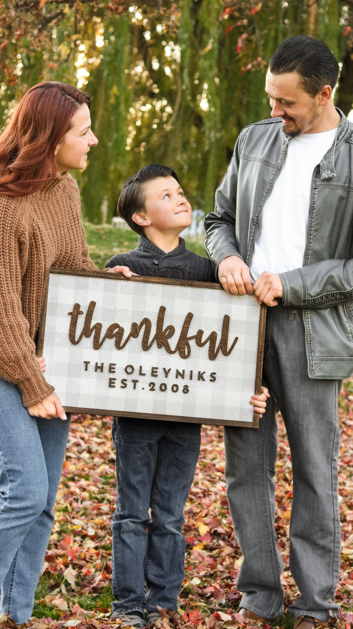 DIY family plaid sign