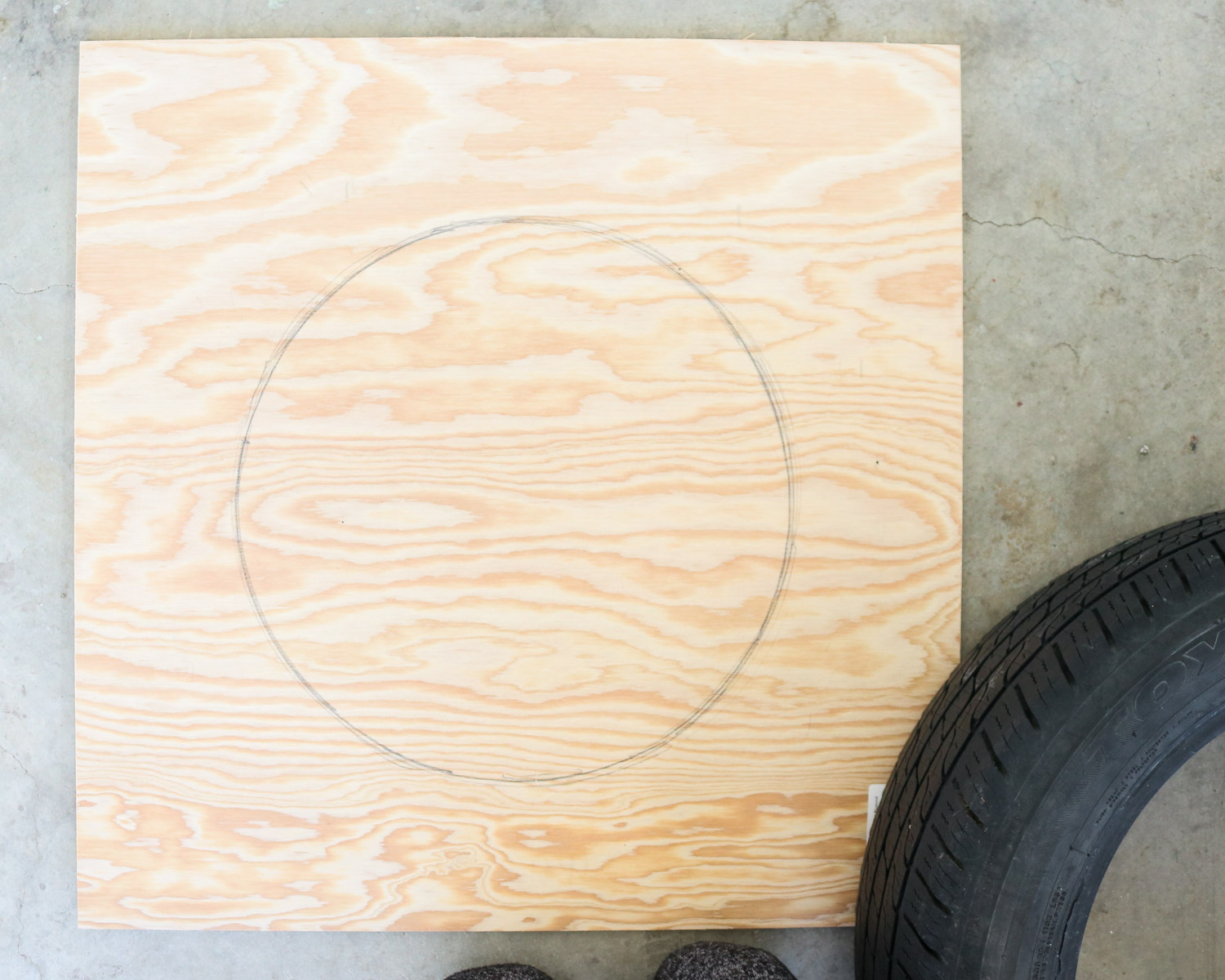 a circle on plywood