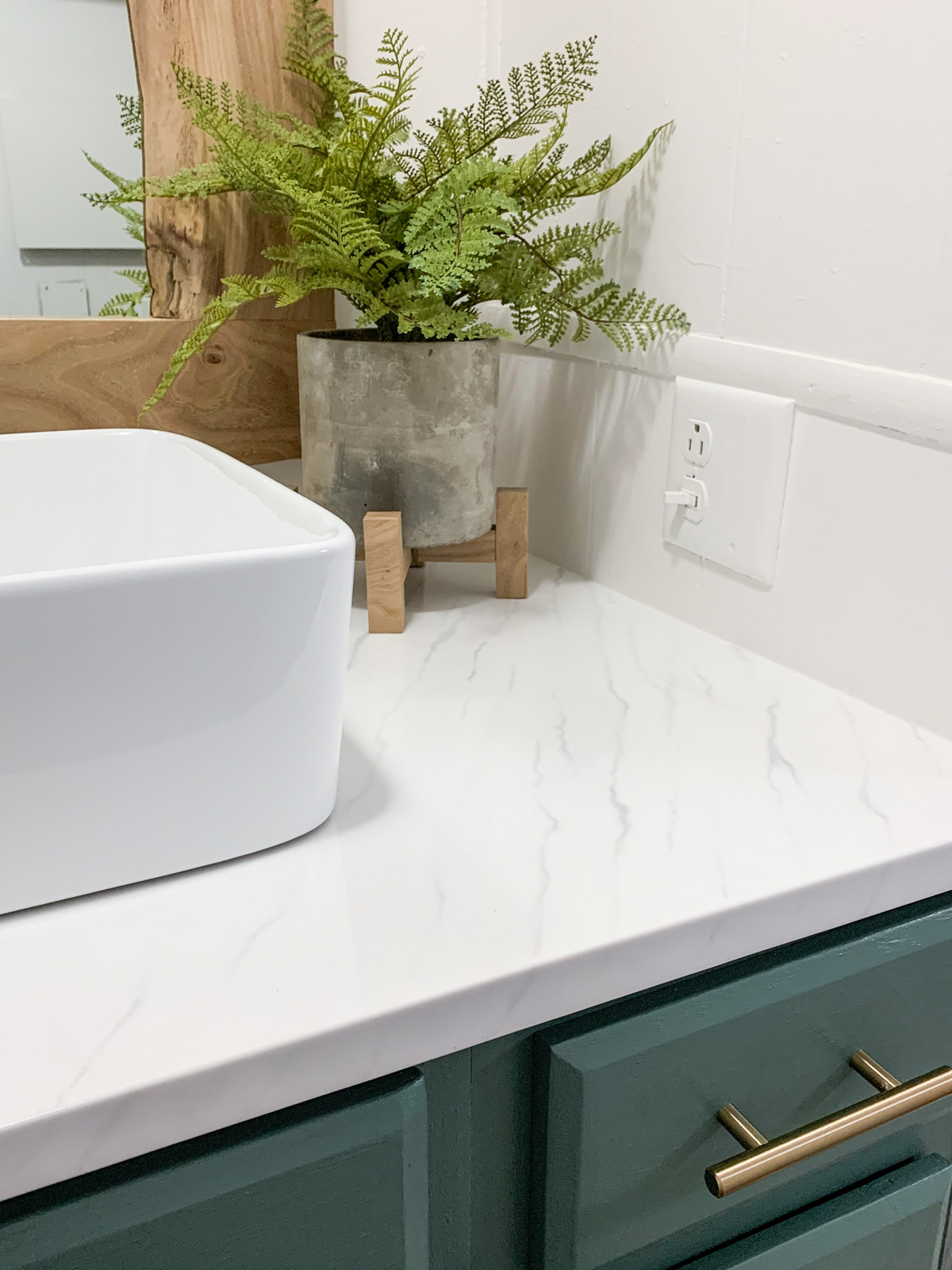 a close up photo of DIY Marble Resin Countertop
