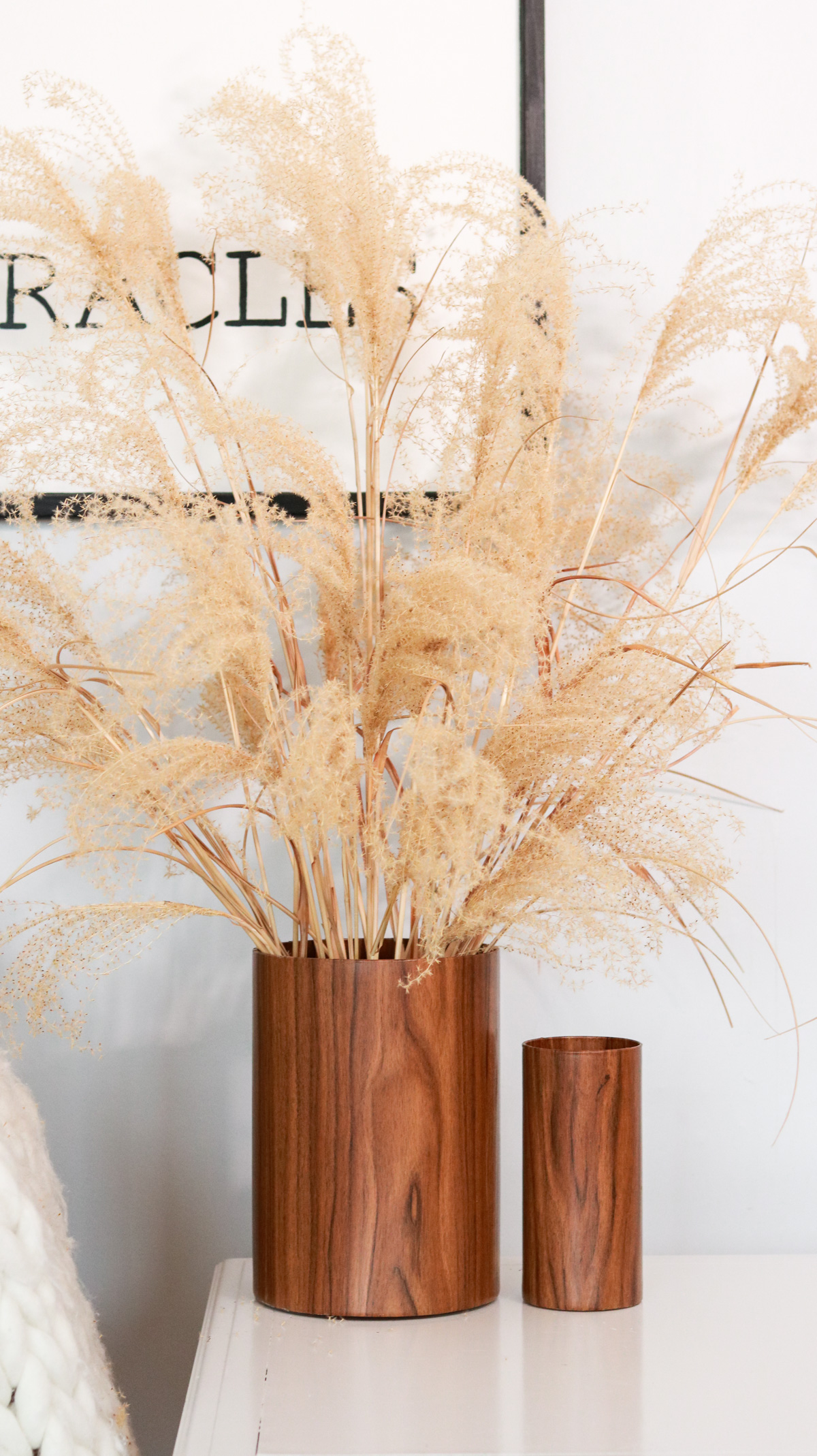 DIY wood vase from glass vases
