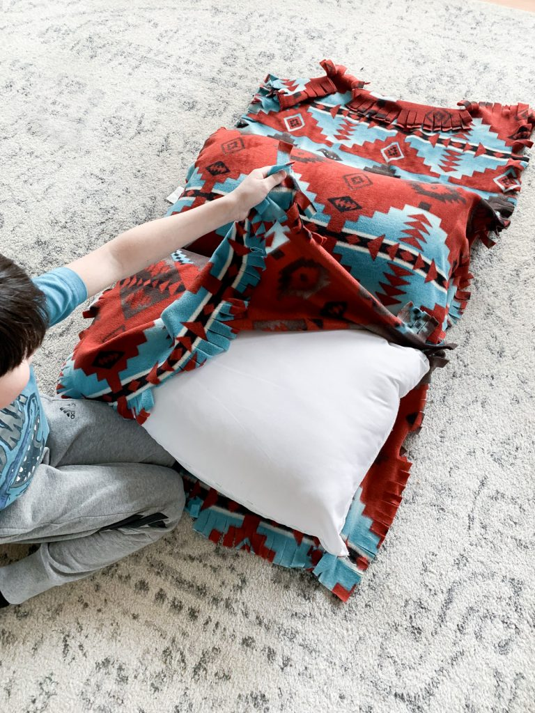 tying fabric for a pillow bed
