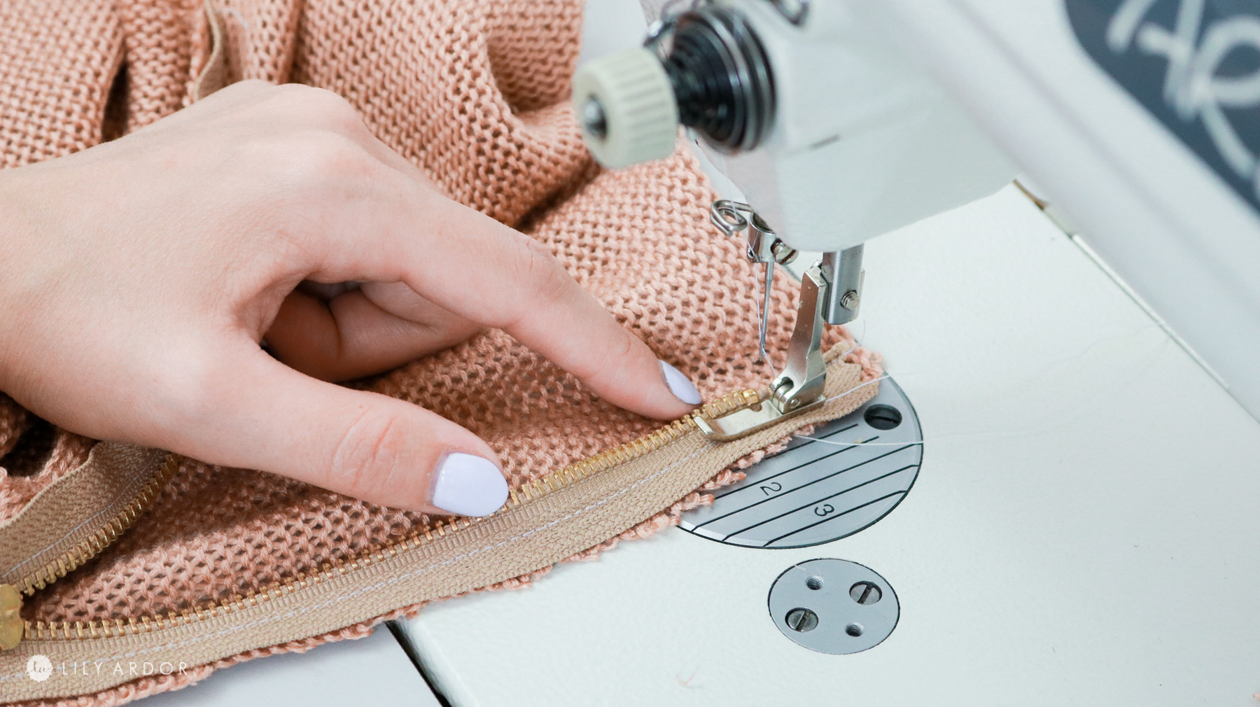 sewing on a zipper