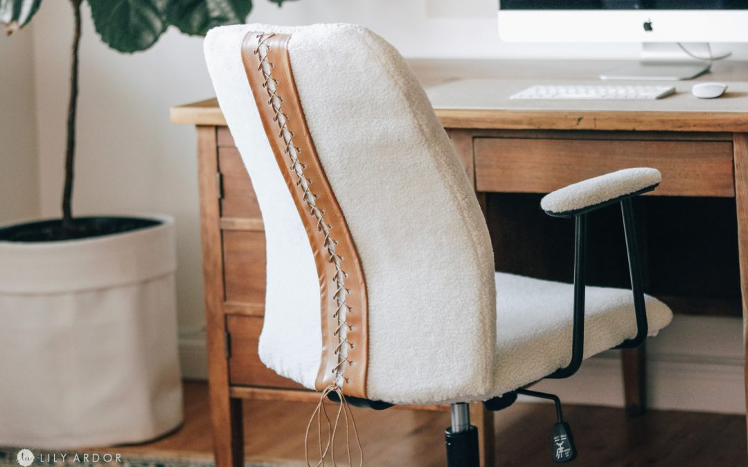 Giving my task chair a makeover! DIY sherpa chair!