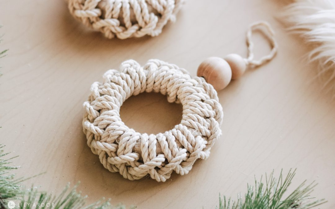 Nautical Christmas Ornaments – Recycled Macrame Mini Wreath Ornaments