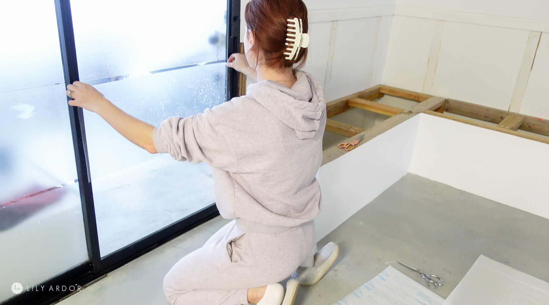 DIY frosted glass doors